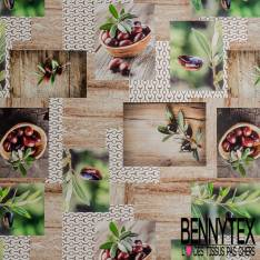 Gabardine Coton Motif Olive de Provence Plancher Nature