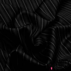 Laine à costume Fine Rayure Verticale Prle Ecru fond Noir