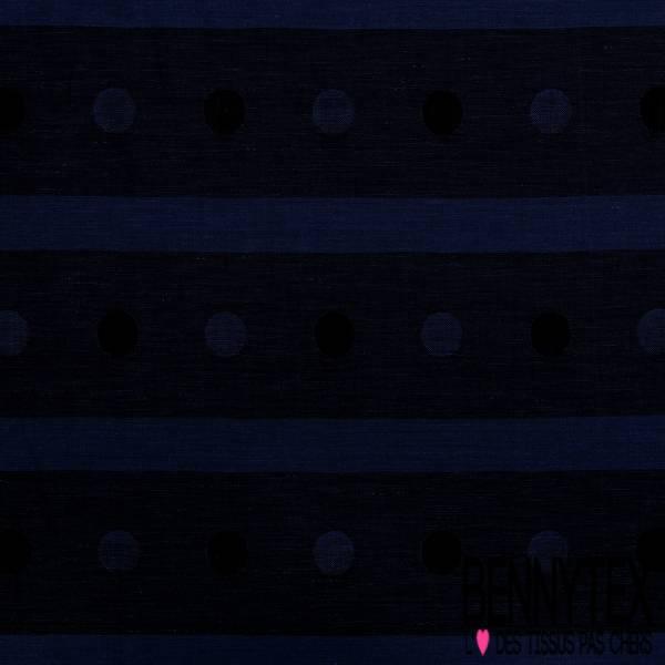 Tartan de Laine Souple Rayure Horizontale et Gros Pois Bleu Electrique Bleu Nuit