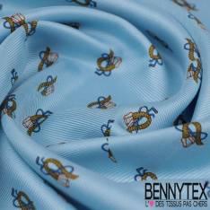 Carré de Twill de Soie N°135 Motif Petit Etrier fond Bleu Ciel