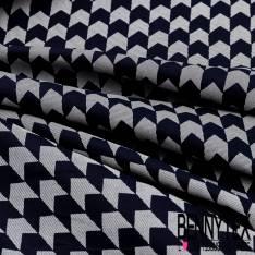 Toile Coton Sergé Pied de Poule Rayé en Biais Bleu Jean Ecru