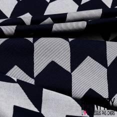 Toile Coton Sergé Pied de Coq Rayé en Biais Bleu Jean Ecru