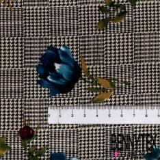 Microfibre Imprimé Rose Bordeaux et Bleu fond Damier en Pied de Puce Noir Blanc