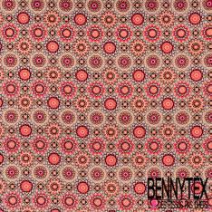 Microfibre Imprimé Motif Kaleidoscope Floral Vintage Camaïeu de Rose