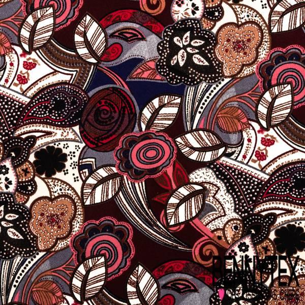 Fibranne Polyester Imprimé Fleurs Naïves Rétro Bordeaux Marine Gris Noir Rose