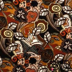 Fibranne Polyester Imprimé Fleurs Naïves Rétro Marron Safran Kaki Rouille