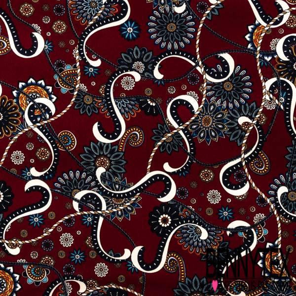 Fibranne Polyester Imprimé Entrelacs de Rosace Mandala fond Lie de Vin