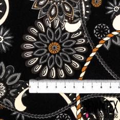 Fibranne Polyester Imprimé Entrelacs de Rosace Mandala fond Noir