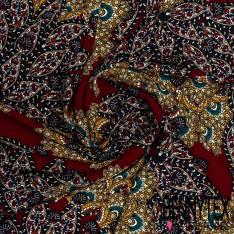 Fibranne Polyester Imprimé Grande Fleur Cachemire fond Lie de Vin