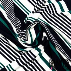 Fibranne Polyester Imprimé Rayure en Biais Emeraude Marine Ecru