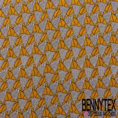 Jersey Cristal Polyester Imprimé Wax Triangle Moutarde Cercle Noir Ecru