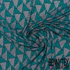 Jersey Cristal Polyester Imprimé Wax Triangle Emeraude Cercle Noir Ecru