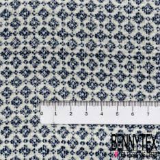 Microfibre Double Base Imprimé Provençale Bleu Blanc Moutarde Texturé Quadrillage