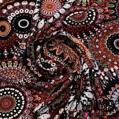 Microfibre Imprimé Multitude de Mandala fond Noir