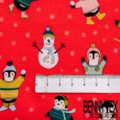 Jersey Molleton Gratté Motif Pingouin Bonhomme de Neige et Flocon de Neige fond rouge Vif