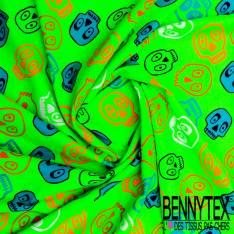 Jersey Coton Imprimé Tête de Mort Rigolotte Fluo fond Vert Fluo