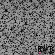 Jersey Coton Imprimé Tête de Tigre en Stamping Noir fond Gris Souris