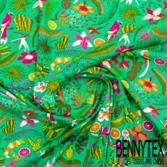Jersey Coton Imprimé Tropical fond Vert Printemps