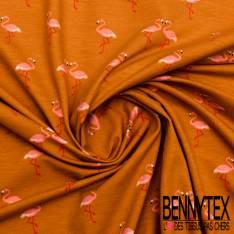 Jersey Coton Imprimé Flamand Rose fond Safran