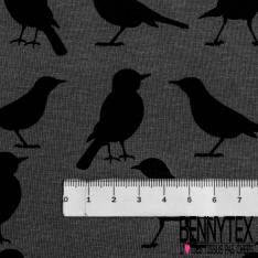 Jersey Viscose Imprimé Petit Oiseau Noir fond Gris Anthracite