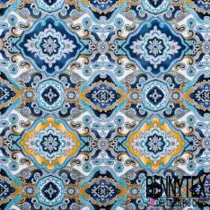 Jersey Cristal Polyester Imprimé Motif Oriental Camaïeu Bleu fond Blanc