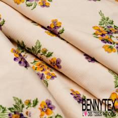 Gabardine Coton Sergé Souple Haute Couture Imprimé Bouquet de Pensée fond Crème