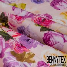 Satin de Coton Haute Couture Elasthanne Motif Rose Multicolore fond Rose pâle