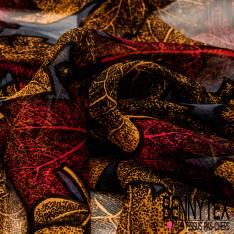 Mousseline de Soie Imprimée Feuille de Platane Moitarde Rouge fond Gris
