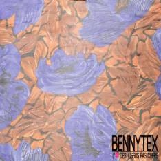 Mousseline de Soie Imprimée Impression de Grosses Fleurs Peintes Bleu Roi Camel