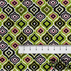 Jersey Viscose Imprimé Motif Géométrique Seventies Vert Pomme Rose Blanc