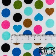 Coton Imprimé Motif Pois et Coeur Réf : 310