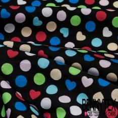 Coton Imprimé Motif Pois et Coeur Réf : 312