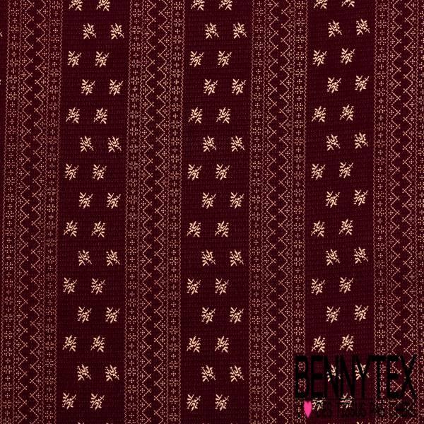 Crêpe Polyester Polyamide Motif Broderie Ecru Texturé Quadrillage fond Bordeaux