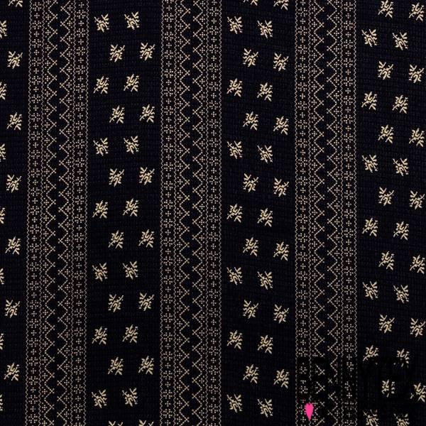 Crêpe Polyester Polyamide Motif Broderie Ecru Texturé Quadrillage fond Marine