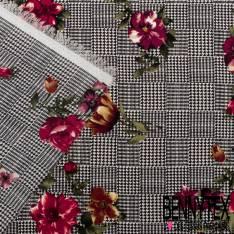 Microfibre Imprimé quadrillage pied de Puce Noir Blanc avec Fleurs