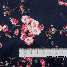 Polyester satiné imprimé Branche Fleurie Rose fond Marine