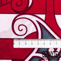 Wax Africain N° 450: Motif Celte Gris fond à Bande Rouge Blanc