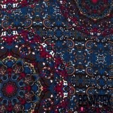 Microfibre Imprimé Cachemire Esprit Vitrail Camaïeu de Bleu