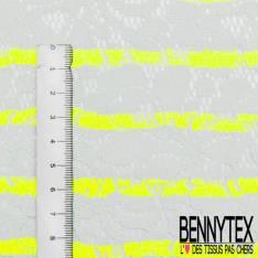 Dentelle Bloquée Coton Blanc Cassé Rayure Fine Jaune Fluo