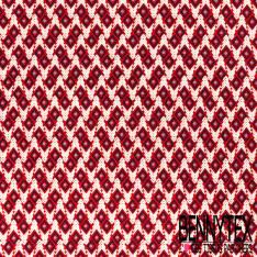 Microfibre Imprimé Motif Géométrique Ethnique Losange Marine Ciel Blanc fond Rouge