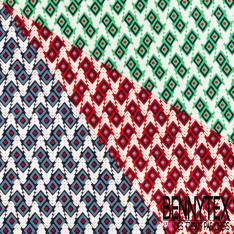 Microfibre Imprimé Motif Géométrique Ethnique Losange Rouge Ciel Blanc fond Marine