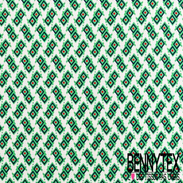 Microfibre Imprimé Motif Géométrique Ethnique Losange Rouge Ciel Blanc fond Vert