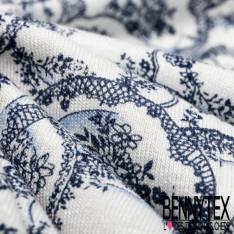Jersey Viscose Imprimé Motif Assiette de Porcelaine Bleu et Blanche