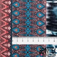 Jersey Viscose Double Base Imprimé Motif Tie and Die Bleu Blanc