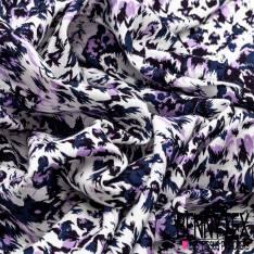 Fibranne Viscose Imprimé Léopard Stylisé Bleu Lilas Noir fond Blanc