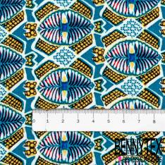 Fibranne Viscose Imprimé Géométrique Ethnique Jaune Bleu