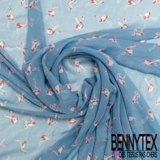 Mousseline Voile Polyester Motif Flamand Rose fond Bleu Charron