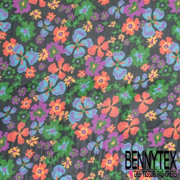 Crêpe Voile Polyester Motif Pensée Multicolore fond Fine Rayure Emeraude Noir