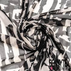 Crêpe Voile Polyester Motif Abstrait Crème Noir