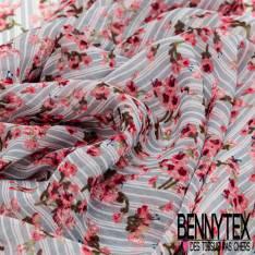Crêpe Voile Polyester Motif Petite Fleur Rose sur Rayure Verticale Blanc Bleu